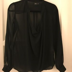 Asos scoop neck sheer black blouse 4